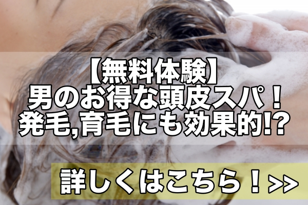【無料体験】男の90分本格的頭皮スパ・ヘッドスパ!発毛,育毛にも効果的!?