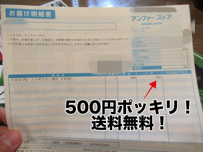 本当に500円だった!スカルプD青汁ノコギリヤシ